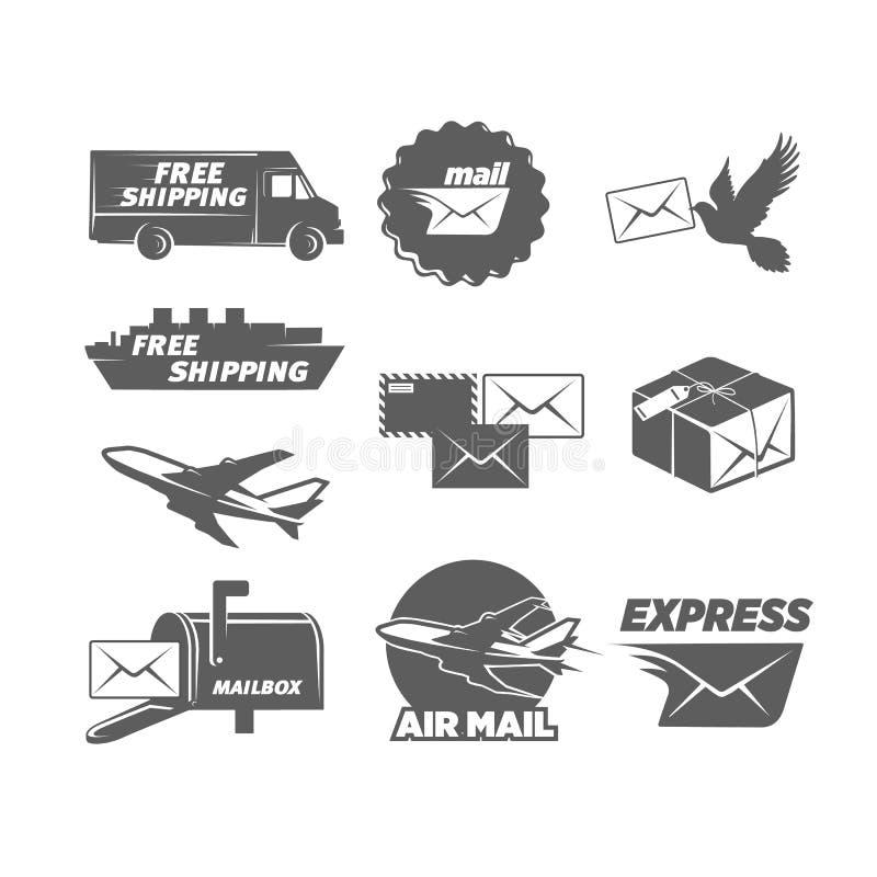 Rocznik poczta usługa ikony ustawiają, wektorowe ilustracje royalty ilustracja