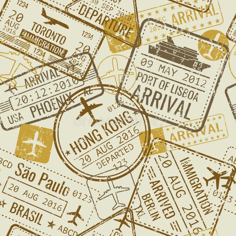 Rocznik podróż wizował paszportowych znaczków wektorowego bezszwowego tło ilustracji
