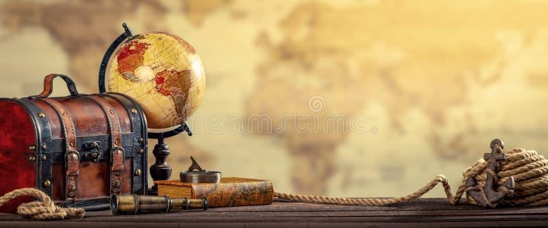 Rocznik podróży Nautyczny Światowy pojęcie Starzał się Yellowed skutek obraz stock