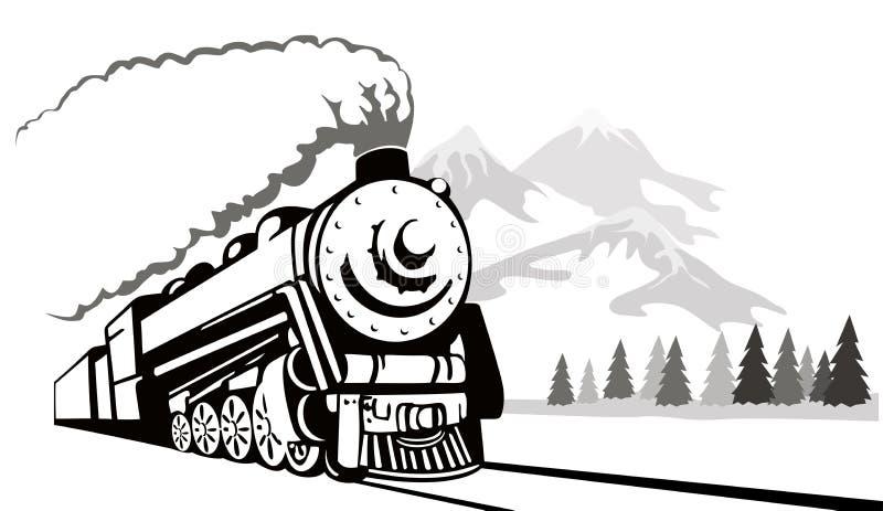 rocznik podróży pociągu royalty ilustracja