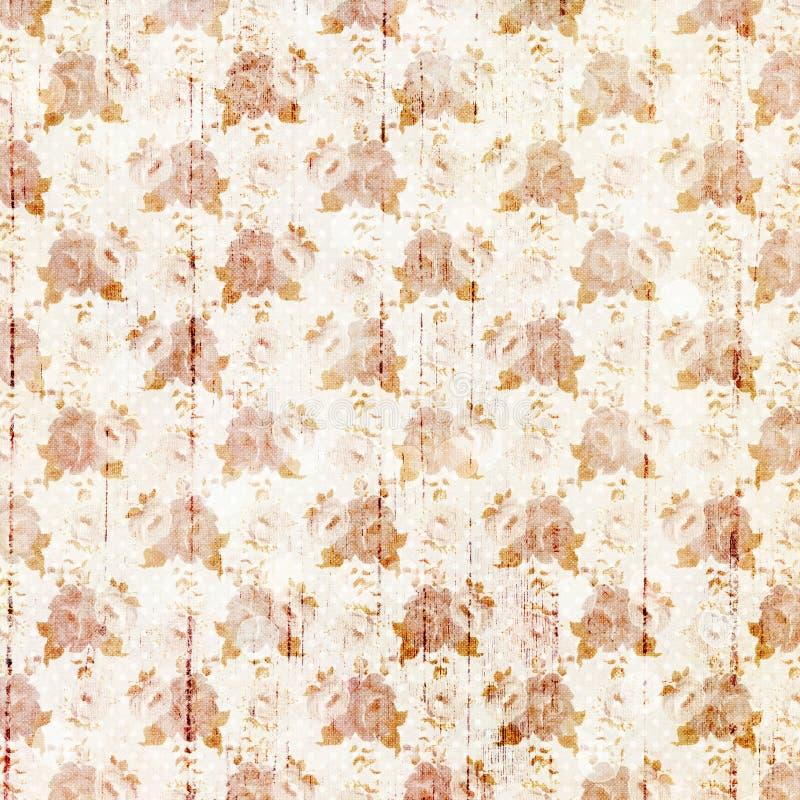 Rocznik pomarańcz i białych grungy kwiaty i drewna tła zbożowy projekt royalty ilustracja