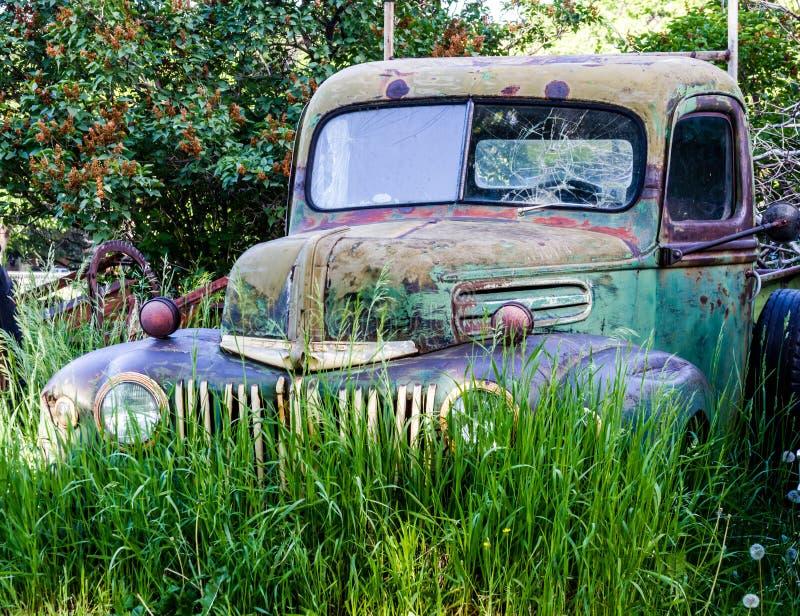 Rocznik Porzucająca ciężarówka w polu zdjęcie royalty free