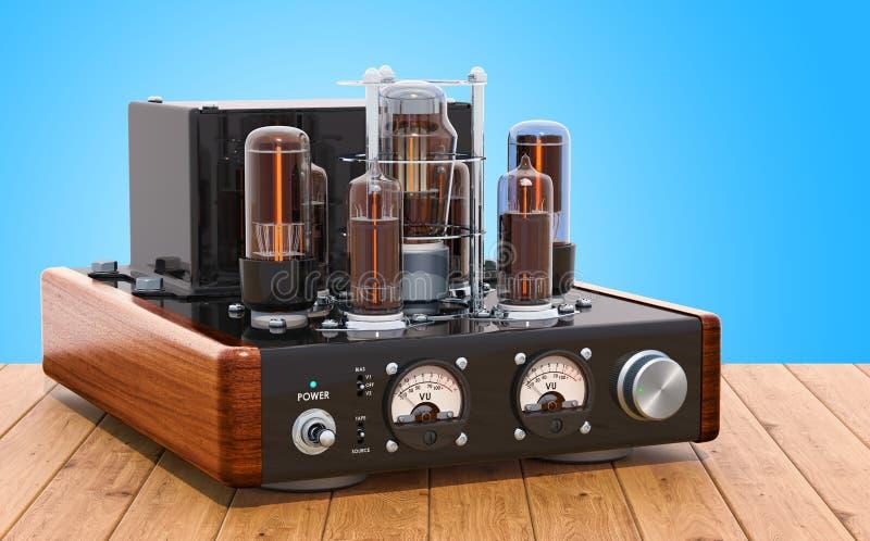 Rocznik próżniowej tubki amplifikator na drewnianym stole świadczenia 3 d ilustracja wektor