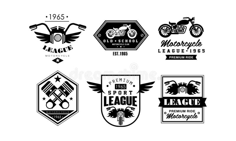 Rocznik premii motocyklu logo ligowy set, retro odznaki dla rowerzysty klubu, motocykl części sklep, remontowej usługi wektor royalty ilustracja