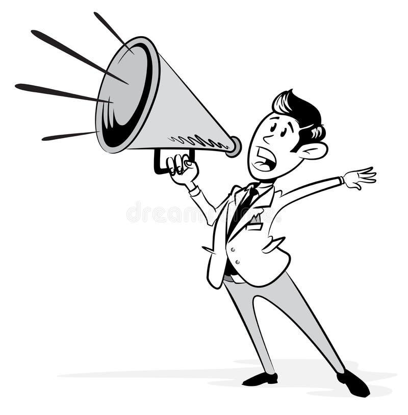 Rocznik Projektujący biznesmen z jego megafonem ilustracja wektor