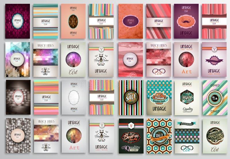 Rocznik Projektuje broszurka szablony ustawiających z etykietkami royalty ilustracja