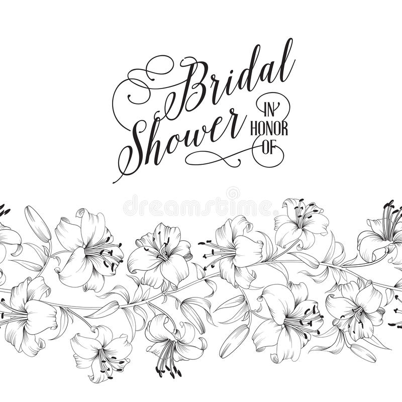 Rocznik prysznic bridal karta royalty ilustracja