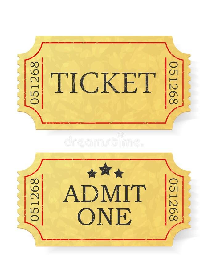 Rocznik przyznaje jeden bilet odizolowywającego na białym tle ilustracja wektor