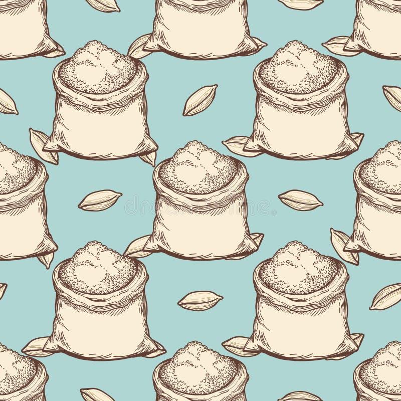 Rocznik pszeniczna mąka zdojest bezszwowego wzór royalty ilustracja