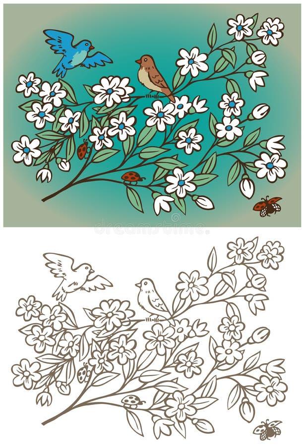 Rocznik, ptaki i kwiaty, royalty ilustracja