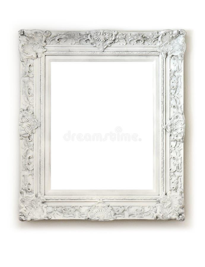 Rocznik pusta rama na biel ścianie zdjęcie stock