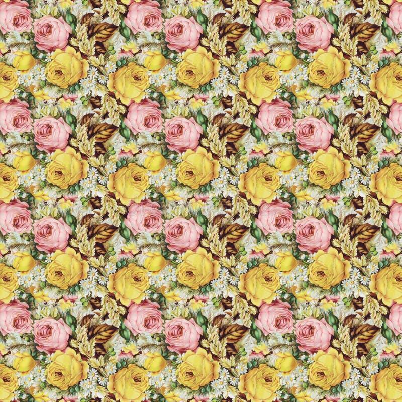 Rocznik róż podławego kwiecistego tła bezszwowy wzór zdjęcia stock
