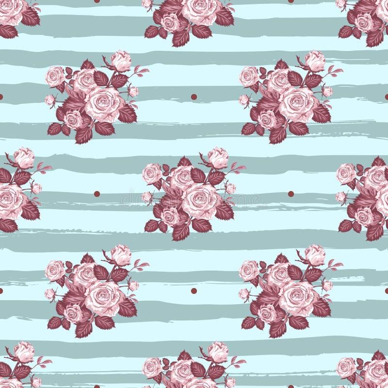 Rocznik róże deseniują Pociągany ręcznie monochromatyczne róże na pastelowym błękitnym pasiastym tle, Wektorowy kwiatu wzór bezsz ilustracja wektor
