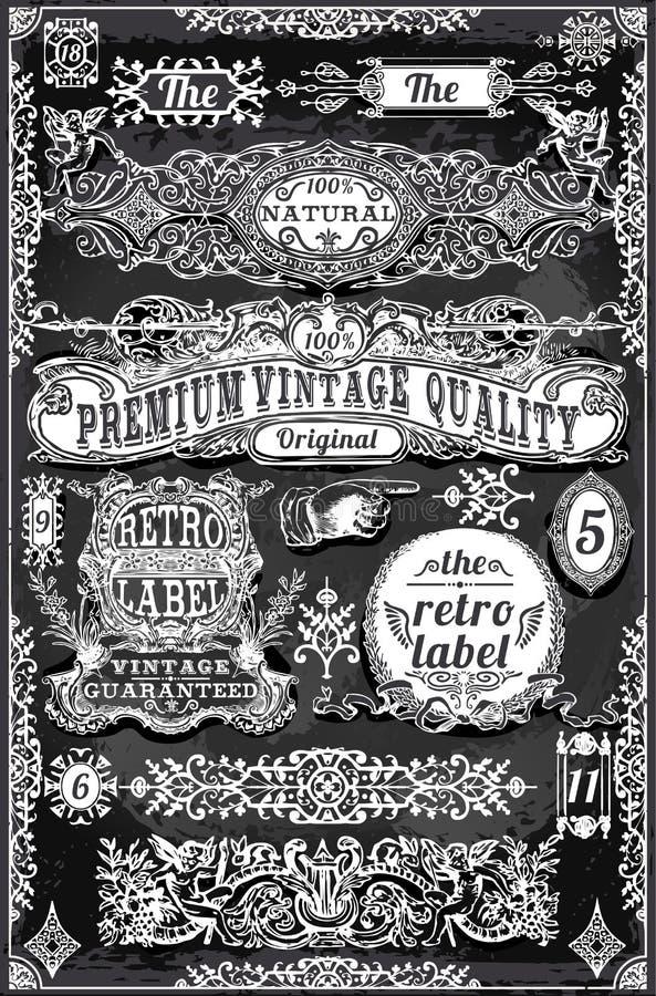 Rocznik ręki Rysować etykietki i sztandary royalty ilustracja