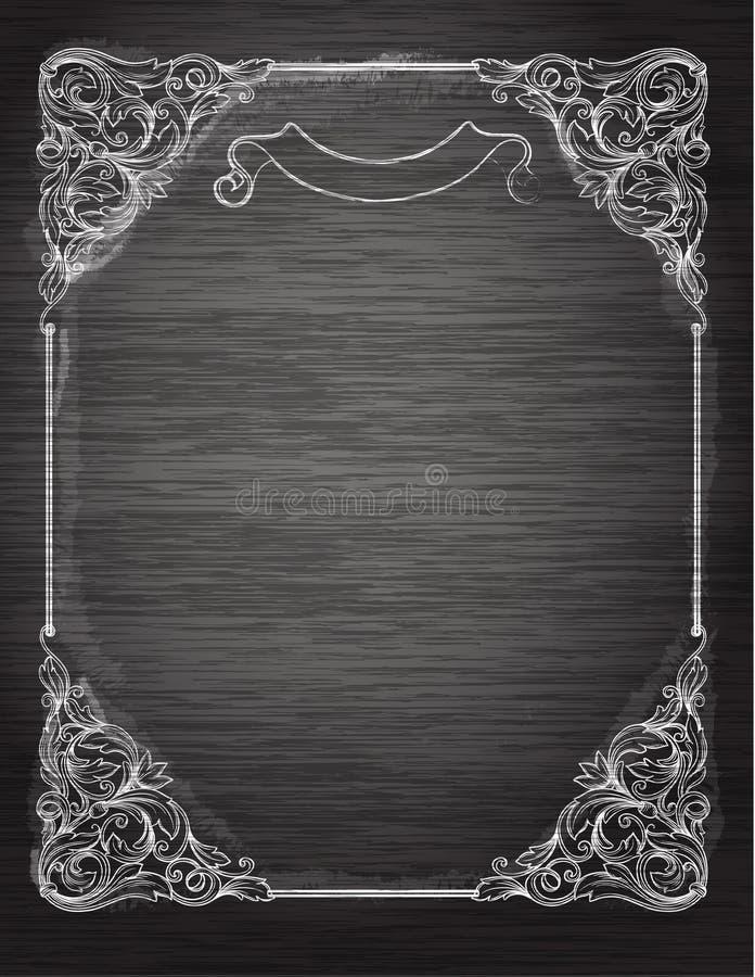 Rocznik rama na chalkboard. royalty ilustracja