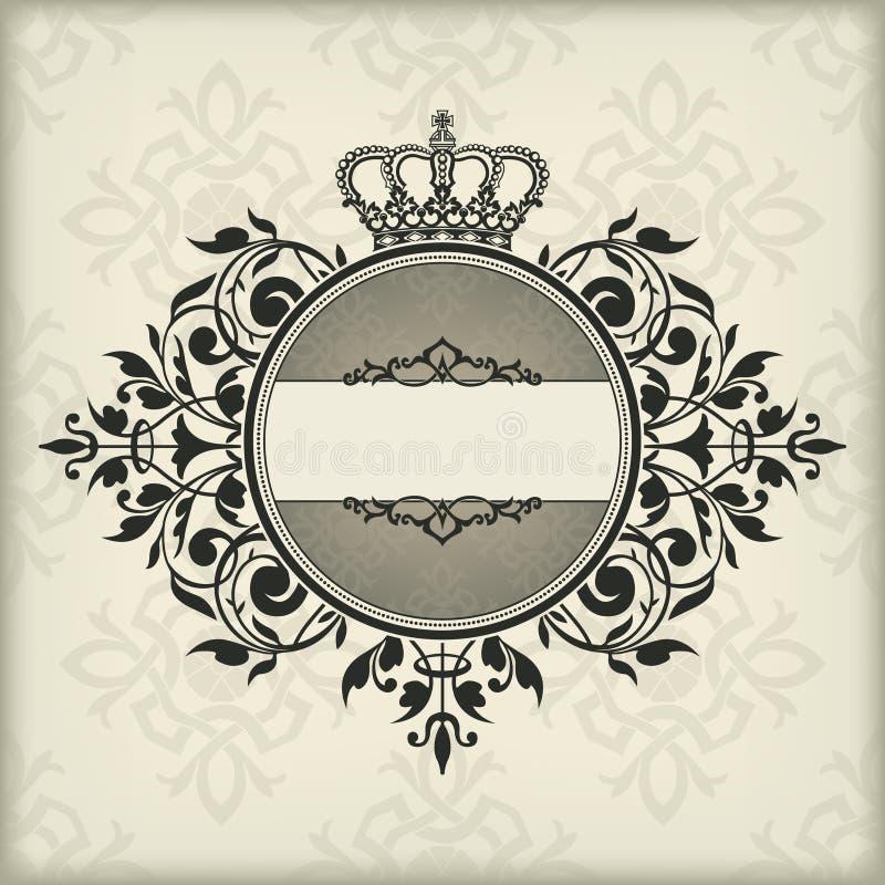 Rocznik rama z koroną ilustracja wektor