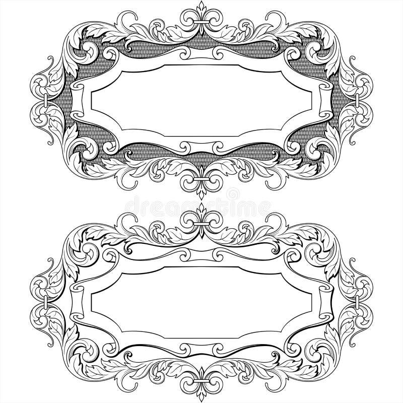 Rocznik rama z kwiecistego ornamentu etykietką, wektor ilustracja wektor