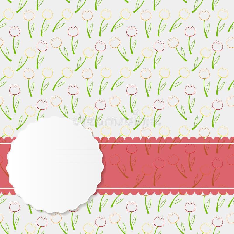 Rocznik rama z Różową Tasiemkową Wektorową ilustracją ilustracja wektor