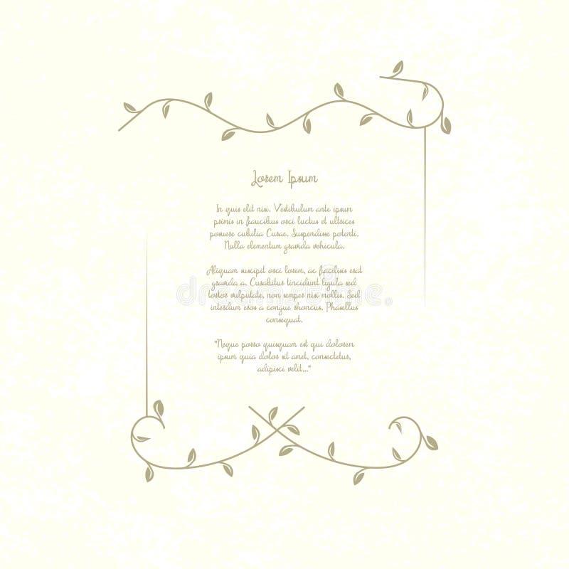 rocznik ramowy dekoracyjny Retro szablon, miejsce dla teksta, wiersz, zaproszenie, restauracyjny menu, wycena ilustracja wektor