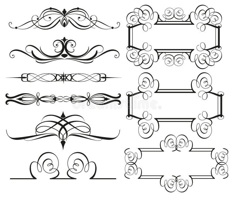 Rocznik ramy dividers i granicy ilustracja wektor
