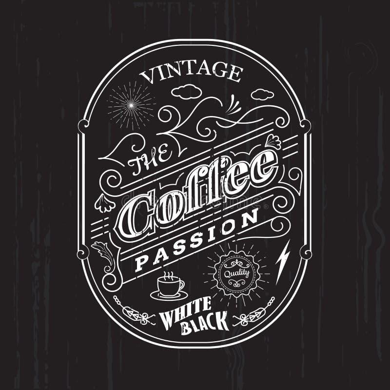 Rocznik ramy granicy etykietki projekta odznaki kawowi elementy royalty ilustracja