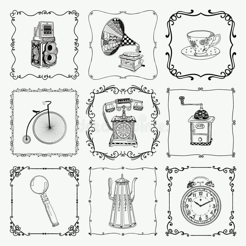 Rocznik ramy i ikony ilustracji