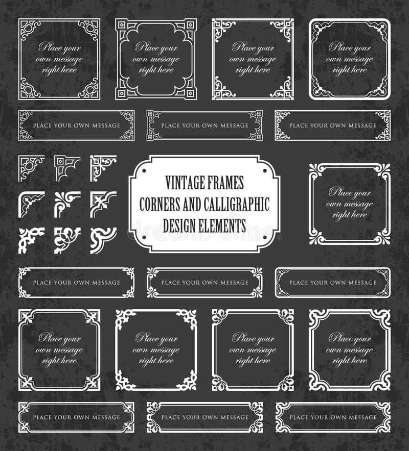 Rocznik ramy, kąty i kaligraficzni projektów elementy na chalkboard tle, ilustracja wektor