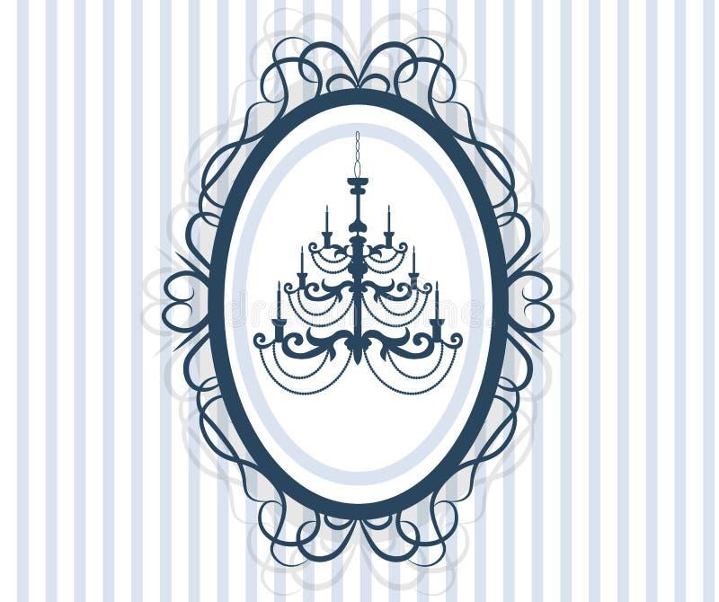 Rocznik ramy karta z antykwarskim świecznikiem ilustracji