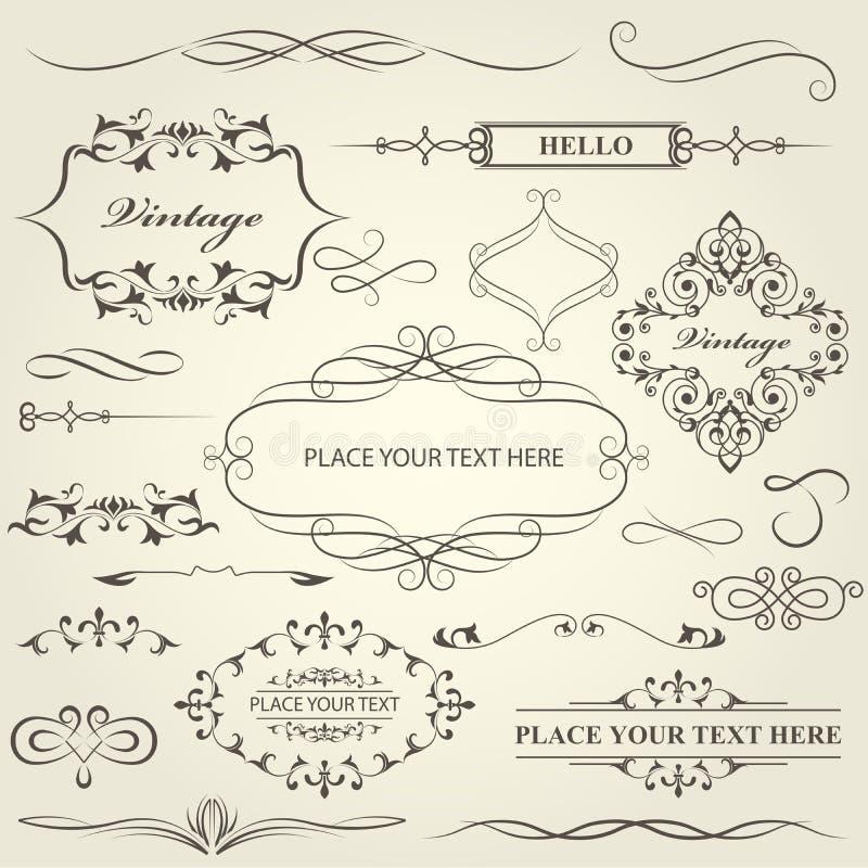 Rocznik ramy, winiety, kaligrafia oddzielacz i dividers, i ilustracji