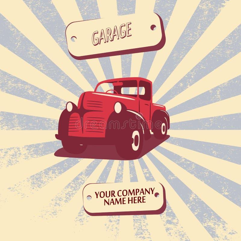 Rocznik retro furgonetki samochodowa wektorowa ilustracja royalty ilustracja