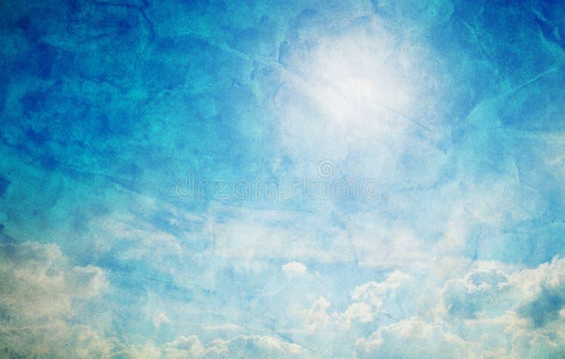 Rocznik, retro wizerunek pogodny niebieskie niebo. obraz stock