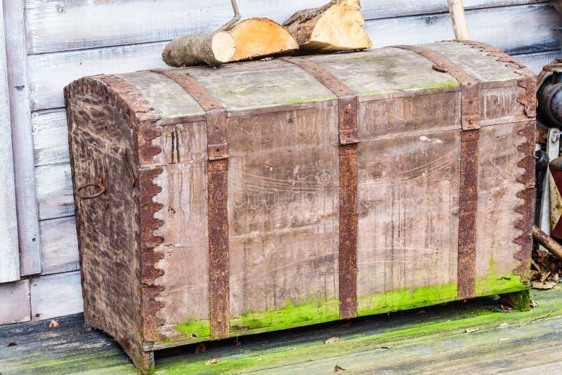 Rocznik skrzynka zakrywająca w mech z drewnem na nim fotografia royalty free