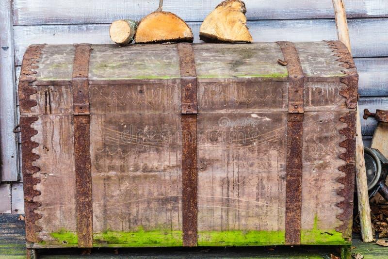 Rocznik skrzynka zakrywająca w mech z drewnem na nim obraz royalty free