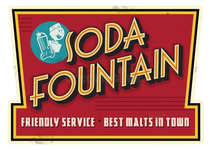 Rocznik Sodowanej fontanny usługa słodu znaka Retro reklama fotografia stock