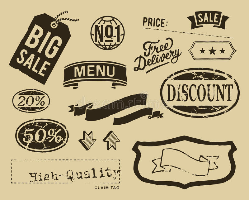 Rocznik sprzedaży graficzni elementy ustawiający ilustracji