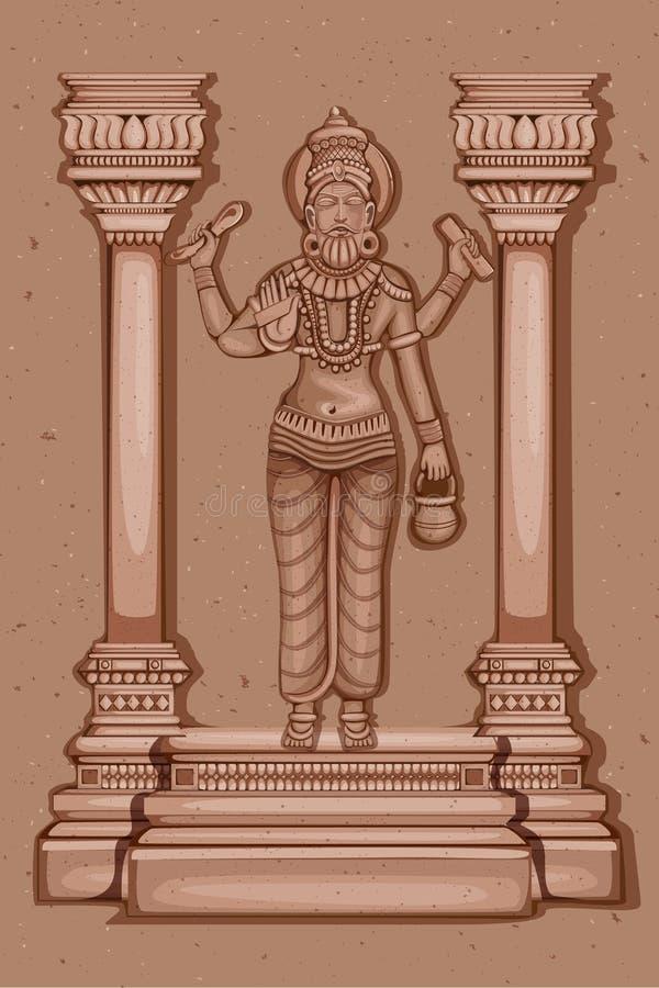 Rocznik statua Indiańska bóg Vishwakarma rzeźba royalty ilustracja