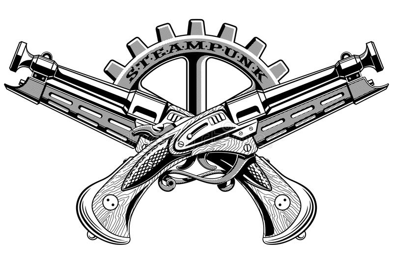 Rocznik Steampunk strzela wektorową ilustrację ilustracji