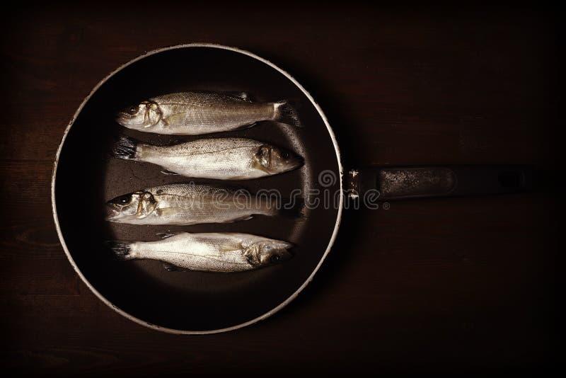 Rocznik stylowa fotografia, świeża ryba, denny bas obrazy royalty free