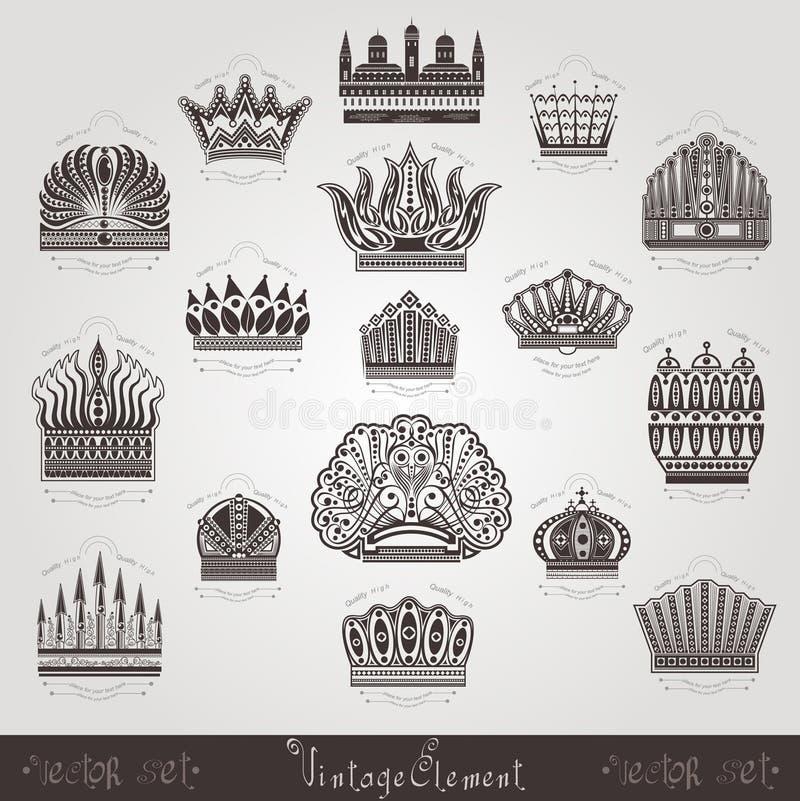 Rocznik sylwetki korony etykietki ustawiać ilustracja wektor
