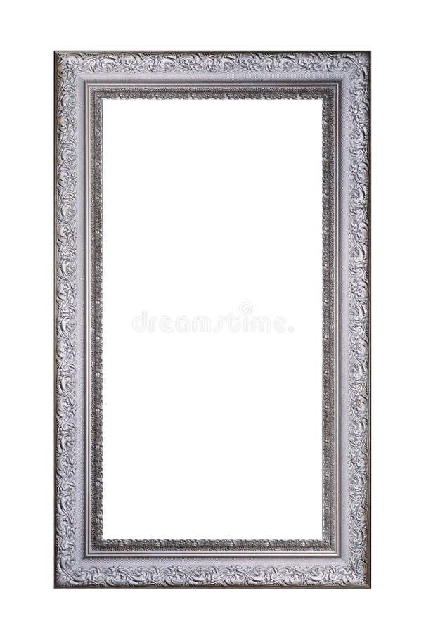 Rocznik szara drewniana rama odizolowywająca na białym tle obraz royalty free