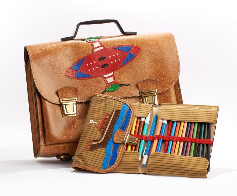 Rocznik szkolna torba i ołówkowa skrzynka obrazy royalty free