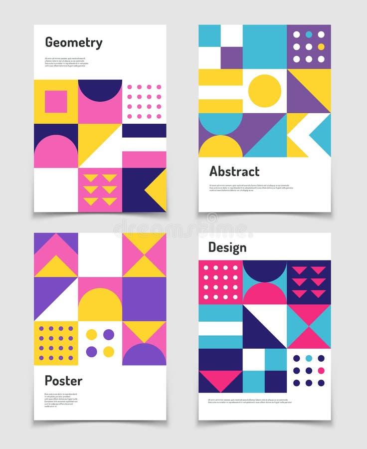 Rocznik szwajcarska grafika, geometryczni bauhaus kształty Wektorowi plakaty w minimalnym modernizmu stylu ilustracja wektor