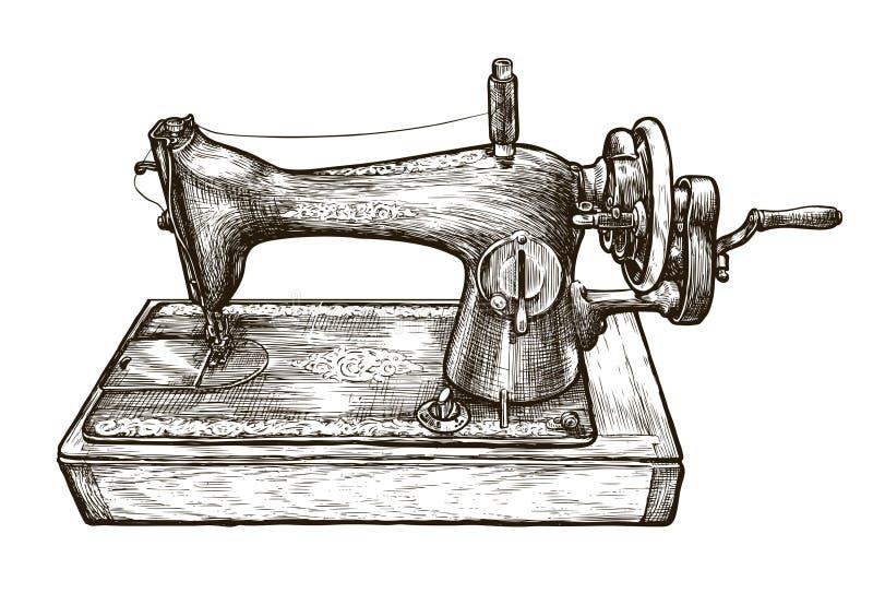 Rocznik szwalna maszyna, nakreślenie Krawiecki studio, szwalny warsztat, rękodzieła pojęcie również zwrócić corel ilustracji wekt ilustracja wektor