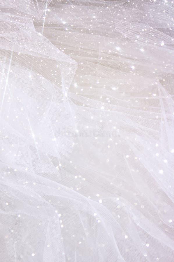 Rocznik tekstury tiulowy szyfonowy tło z błyskotliwości narzutą pojęcia sukni panny młodej portret schodów poślubić fotografia royalty free