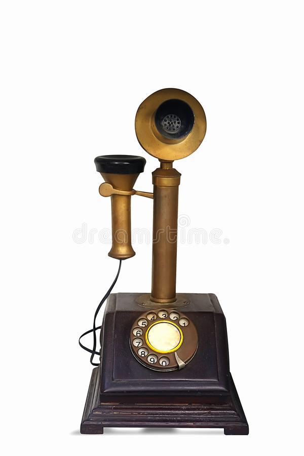 rocznik telefonu stary retro telefon odizolowywający na białym tle zdjęcia royalty free