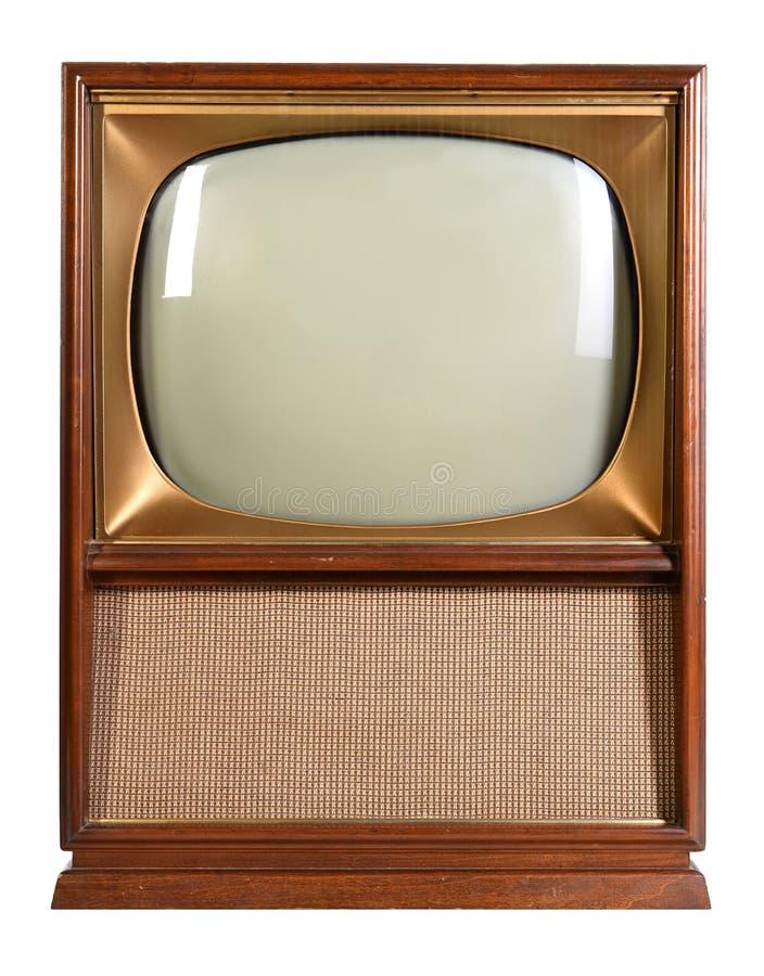 Rocznik telewizja Nad Białym tłem zdjęcia stock