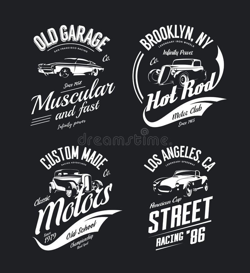 Rocznik terenówka, obyczajowy gorący prącie i mięsień koszula samochodowy wektorowy logo, odizolowywaliśmy set royalty ilustracja