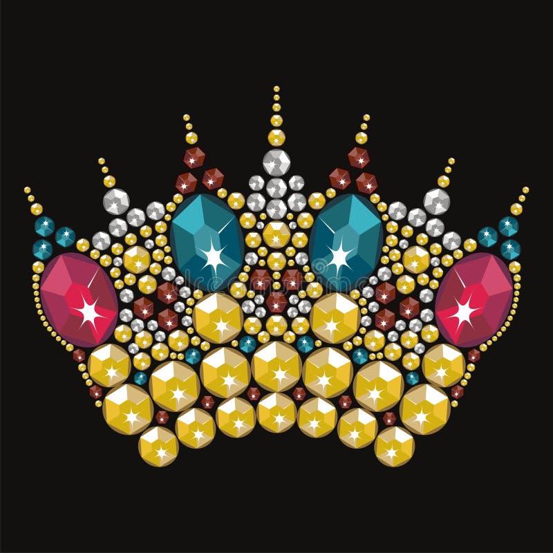 Rocznik tiary korony kobiet złocisty ślub z rhinestones Korona chybienie konkurs royalty ilustracja