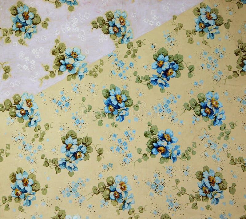 Rocznik tkaniny tekstylny kwiecisty wzór jaskrawi liście i kwiaty royalty ilustracja