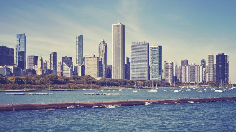Rocznik tonował Chicagowską nabrzeża i miasta linię horyzontu, usa zdjęcia stock